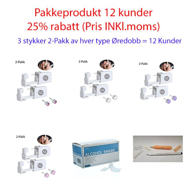 Bilde av PAKKE ØREHULLTAKINGSINSTRUMENT 4 typer Øredobb 12